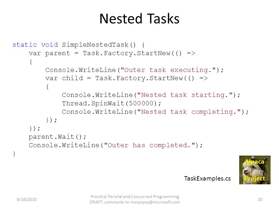 Nested Tasks static void SimpleNestedTask() { var parent = Task.Factory.StartNew(() => { Console.WriteLine(