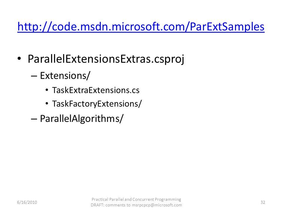 http://code.msdn.microsoft.com/ParExtSamples ParallelExtensionsExtras.csproj – Extensions/ TaskExtraExtensions.cs TaskFactoryExtensions/ – ParallelAlg