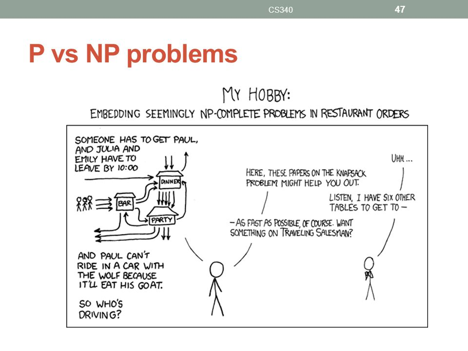 P vs NP problems CS340 47