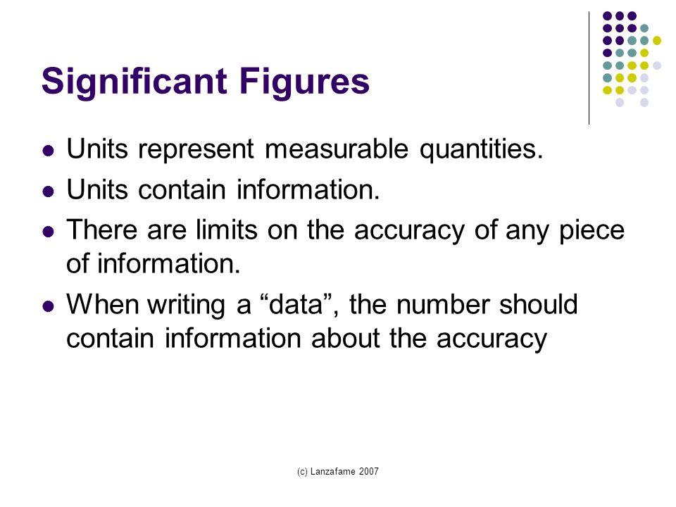 (c) Lanzafame 2007 Significant Figures Units represent measurable quantities.