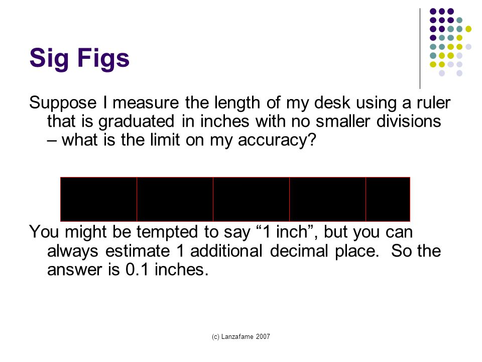 (c) Lanzafame 2007 Sig Figs Suppose I measure the length of my desk using a ruler that is graduated in inches with no smaller divisions – what is the limit on my accuracy.
