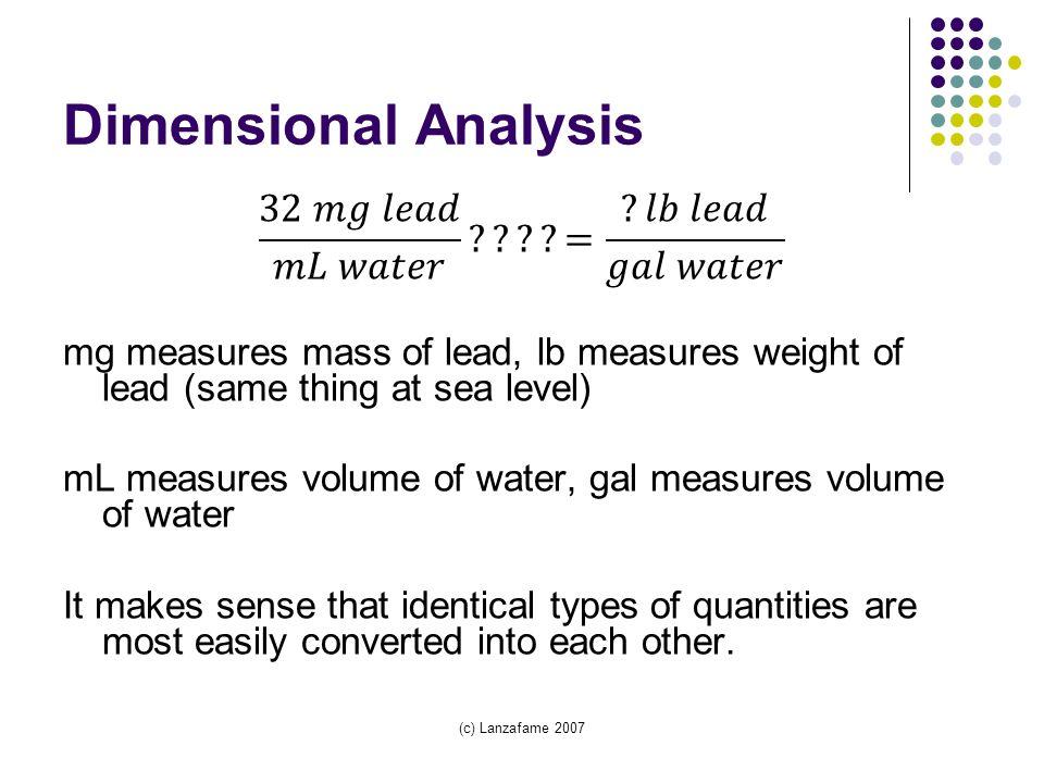 (c) Lanzafame 2007 Dimensional Analysis