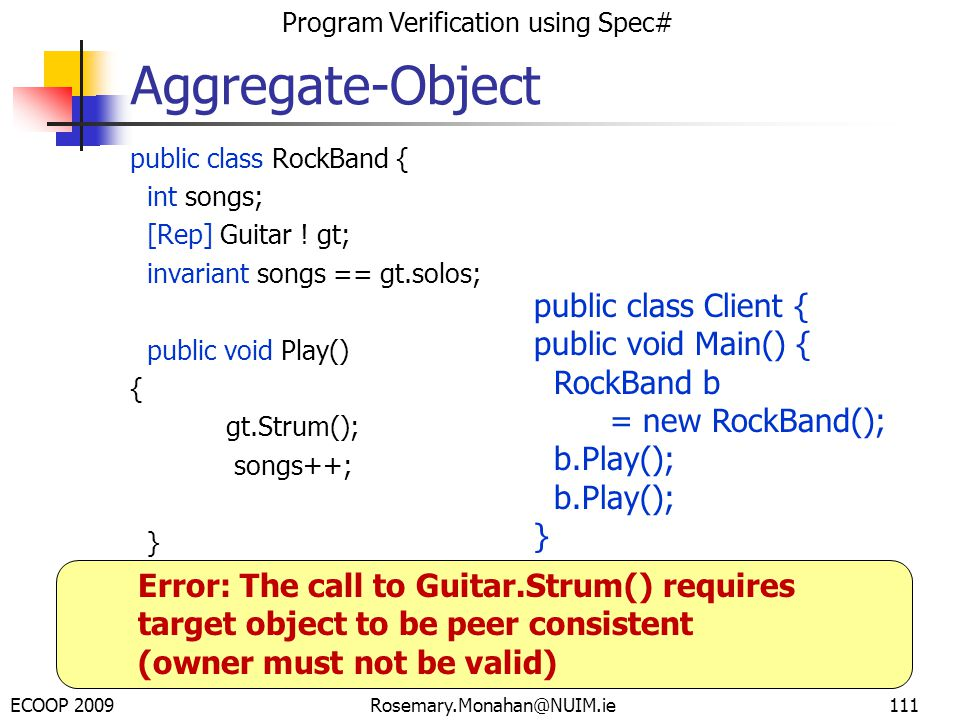 ECOOP 2009 Program Verification using Spec# Rosemary.Monahan@NUIM.ie111 public class RockBand { int songs; [Rep] Guitar .