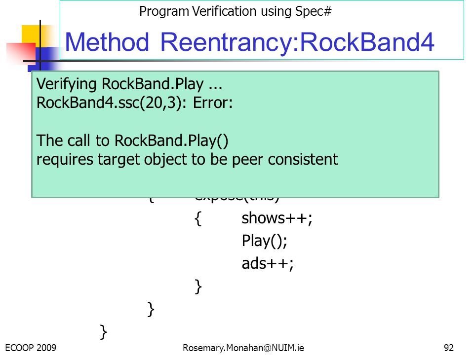 ECOOP 2009 Program Verification using Spec# Rosemary.Monahan@NUIM.ie Method Reentrancy:RockBand4 public class RockBand {int shows; int ads; invariant shows <= ads; public void Play() {expose(this) {shows++; Play(); ads++; } 92 Verifying RockBand.Play...