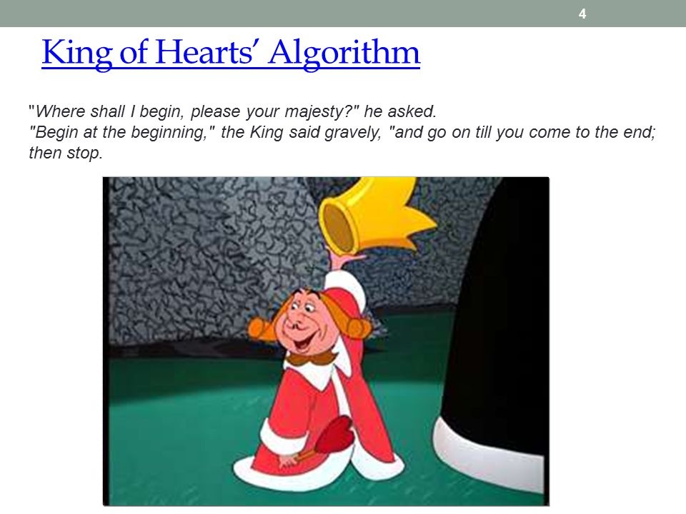 King of Hearts' Algorithm 4 Where shall I begin, please your majesty he asked.