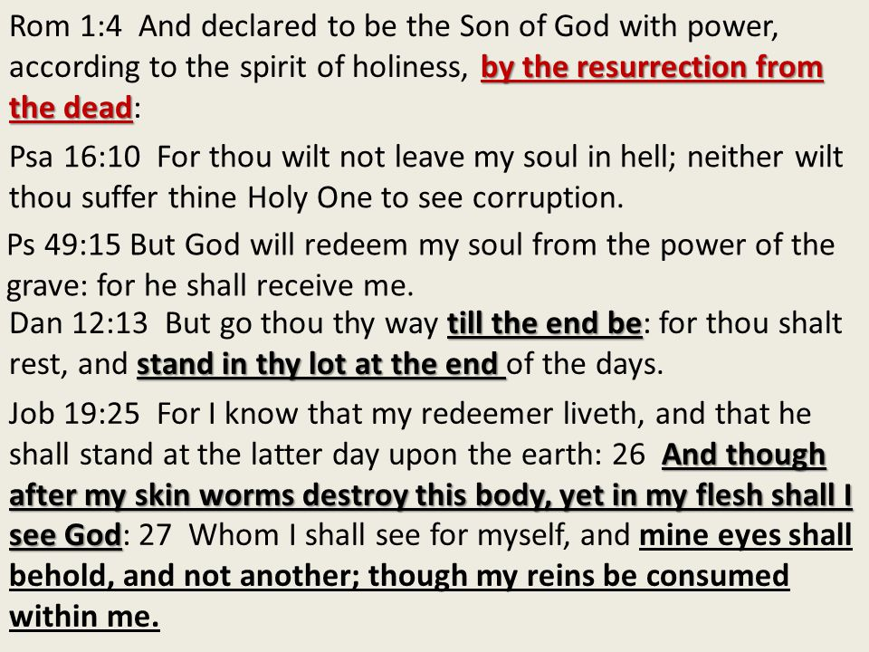 by the resurrection from the dead Rom 1:4 And declared to be the Son of God with power, according to the spirit of holiness, by the resurrection from the dead: Psa 16:10 For thou wilt not leave my soul in hell; neither wilt thou suffer thine Holy One to see corruption.