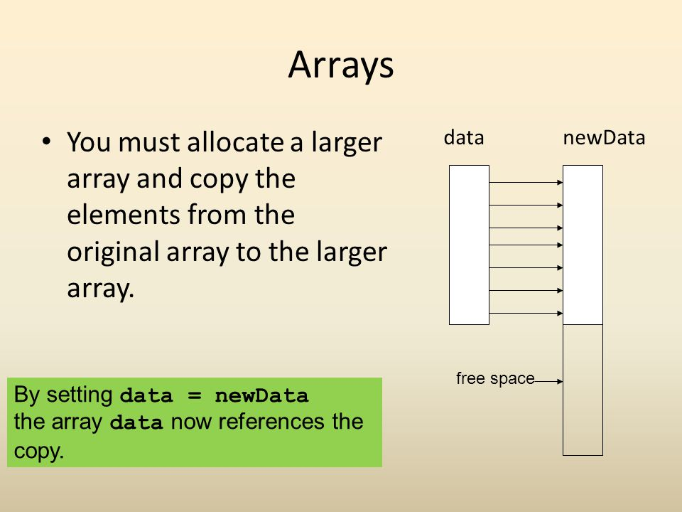 Arrays You must allocate a larger array and copy the elements from the original array to the larger array.