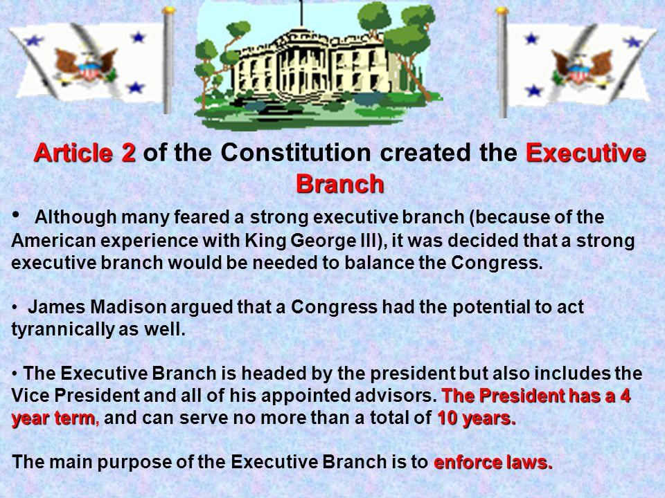 Article 1 Legislative Branch Article 1 of the Constitution created the Legislative Branch bicameral legislature It created a bicameral legislature: Th