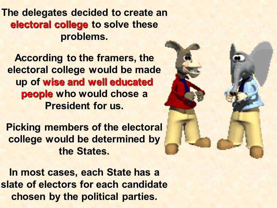 After the creation of the Executive Branch of government, there was still debate about how the President would be elected. Some feared a direct vote b
