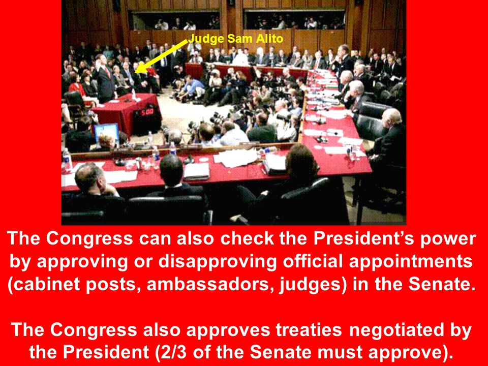 For example… Congress passes a bill and sends it to the president to be signed. signin vetoing The President checks the Congress by either signing or