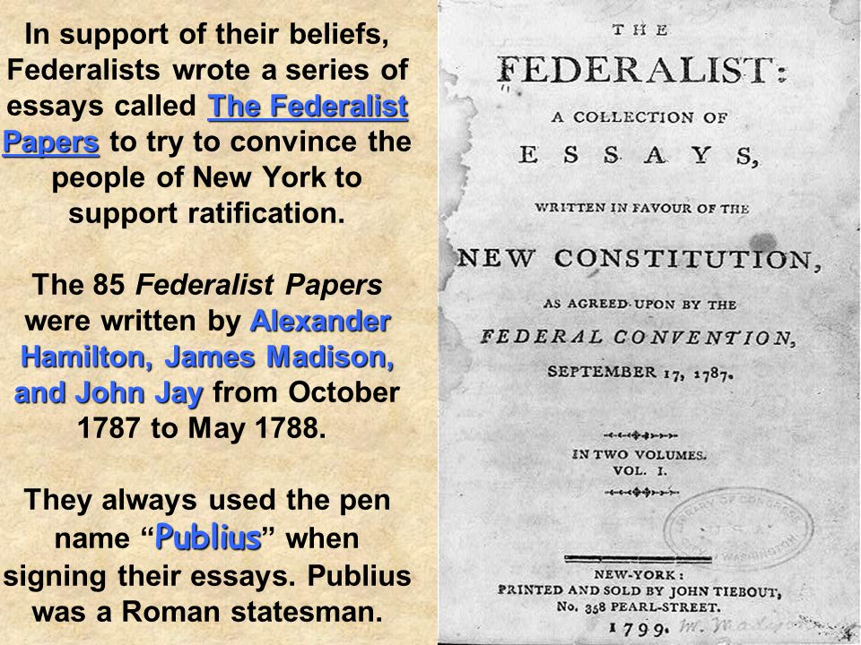 Federalists' The Federalists' ideas about strong national government were included in the Constitution. Separation of Powers System of Checks and Bala