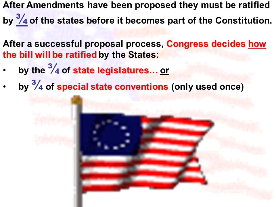 Congress Created 2 Ways to Propose Amendments to the Constitution 1. 2/3 of both houses of Congress can propose Amendments 2. 2/3 of the states call f