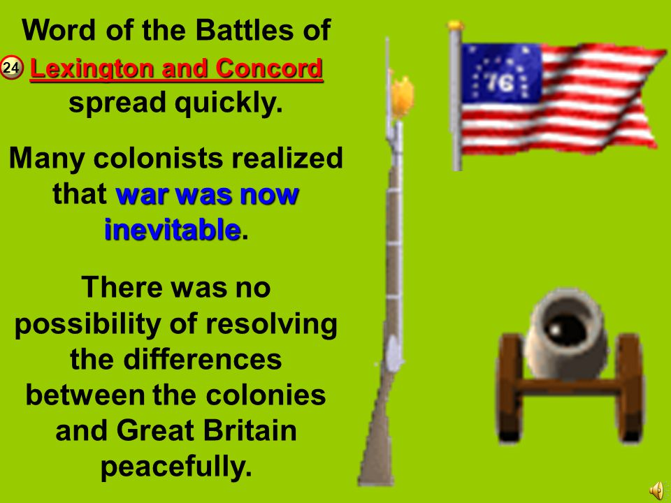 When the British returned from Concord they met 300 colonial militia on the North Bridge (just outside of Concord). Fighting broke out, and the coloni