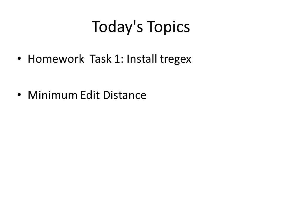 Today s Topics Homework Task 1: Install tregex Minimum Edit Distance