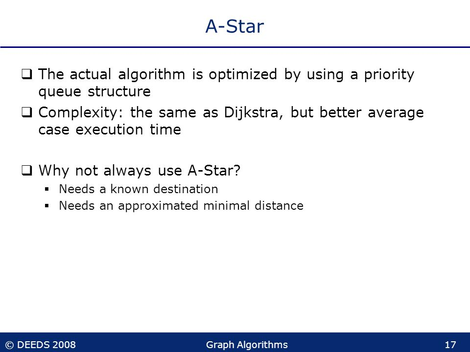 © DEEDS 2008Graph Algorithms17 A-Star  The actual algorithm is optimized by using a priority queue structure  Complexity: the same as Dijkstra, but better average case execution time  Why not always use A-Star.