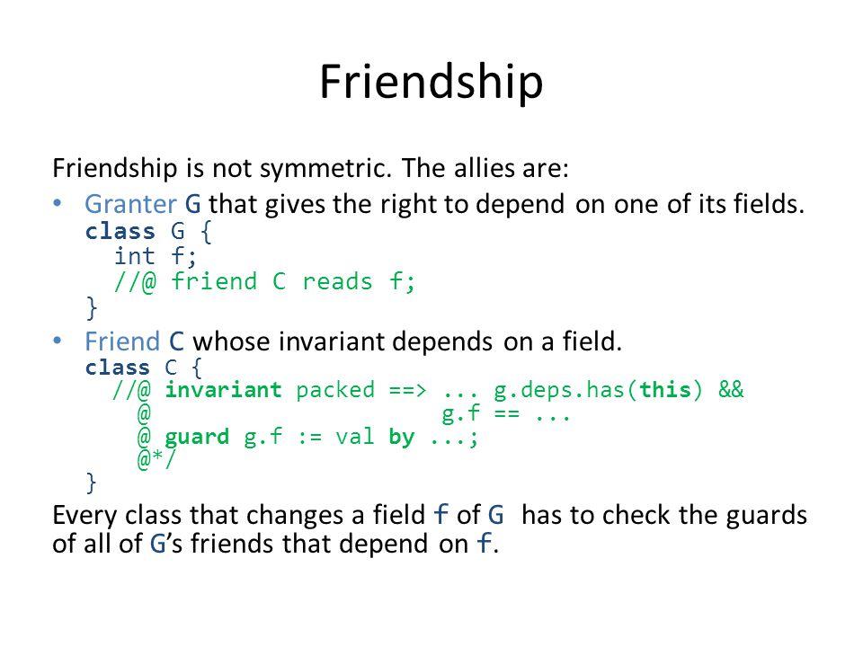 Friendship Friendship is not symmetric.
