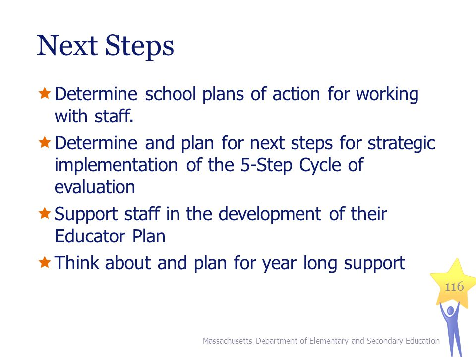 Next Steps  Determine school plans of action for working with staff.