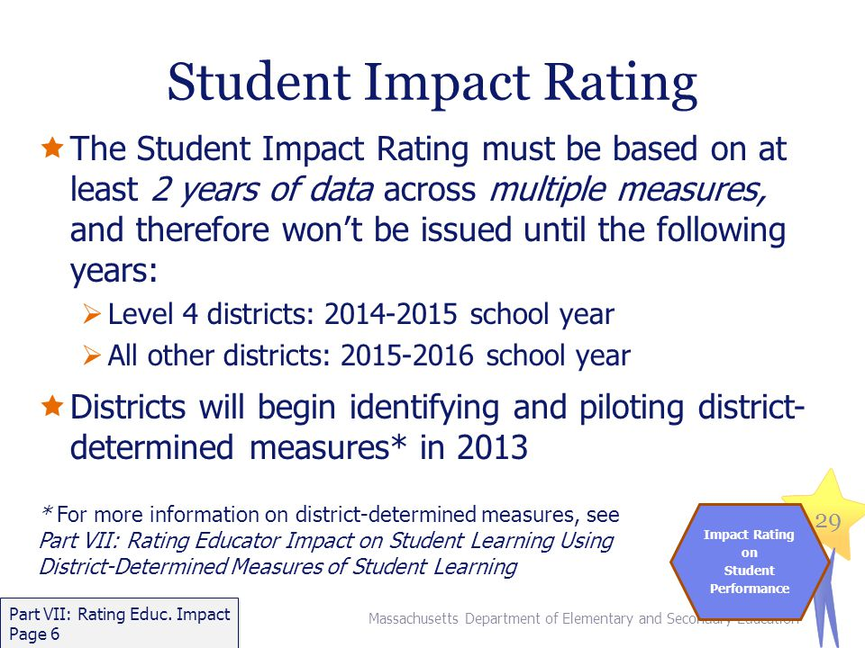 Student Impact Rating  The Student Impact Rating must be based on at least 2 years of data across multiple measures, and therefore won't be issued until the following years:  Level 4 districts: 2014-2015 school year  All other districts: 2015-2016 school year  Districts will begin identifying and piloting district- determined measures* in 2013 * For more information on district-determined measures, see Part VII: Rating Educator Impact on Student Learning Using District-Determined Measures of Student Learning Massachusetts Department of Elementary and Secondary Education 29 Impact Rating on Student Performance Part VII: Rating Educ.