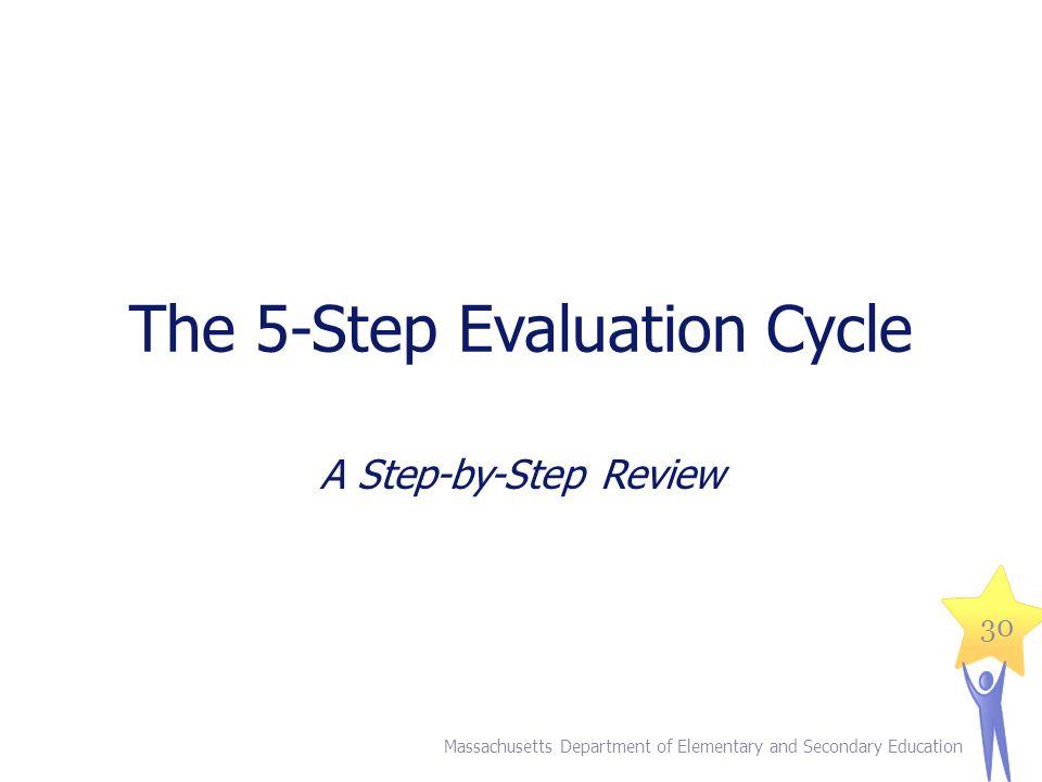 The 5-Step Evaluation Cycle A Step-by-Step Review Massachusetts Department of Elementary and Secondary Education 30