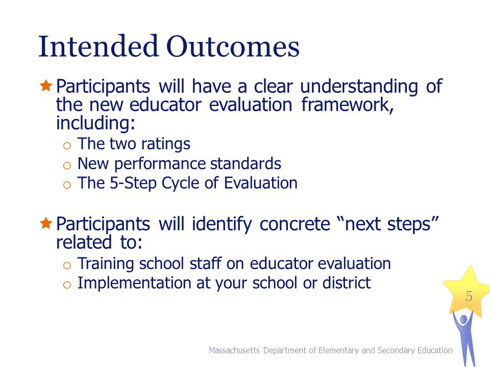 Intended Outcomes  Participants will have a clear understanding of the new educator evaluation framework, including: o The two ratings o New performance standards o The 5-Step Cycle of Evaluation  Participants will identify concrete next steps related to: o Training school staff on educator evaluation o Implementation at your school or district 5 Massachusetts Department of Elementary and Secondary Education