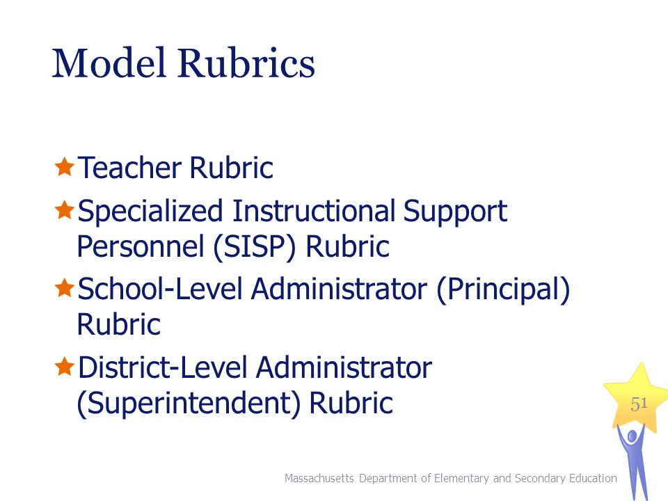 Model Rubrics  Teacher Rubric  Specialized Instructional Support Personnel (SISP) Rubric  School-Level Administrator (Principal) Rubric  District-Level Administrator (Superintendent) Rubric Massachusetts Department of Elementary and Secondary Education 51