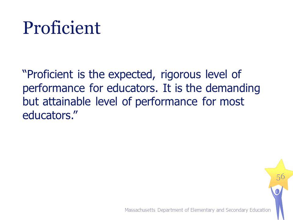 Proficient Proficient is the expected, rigorous level of performance for educators.