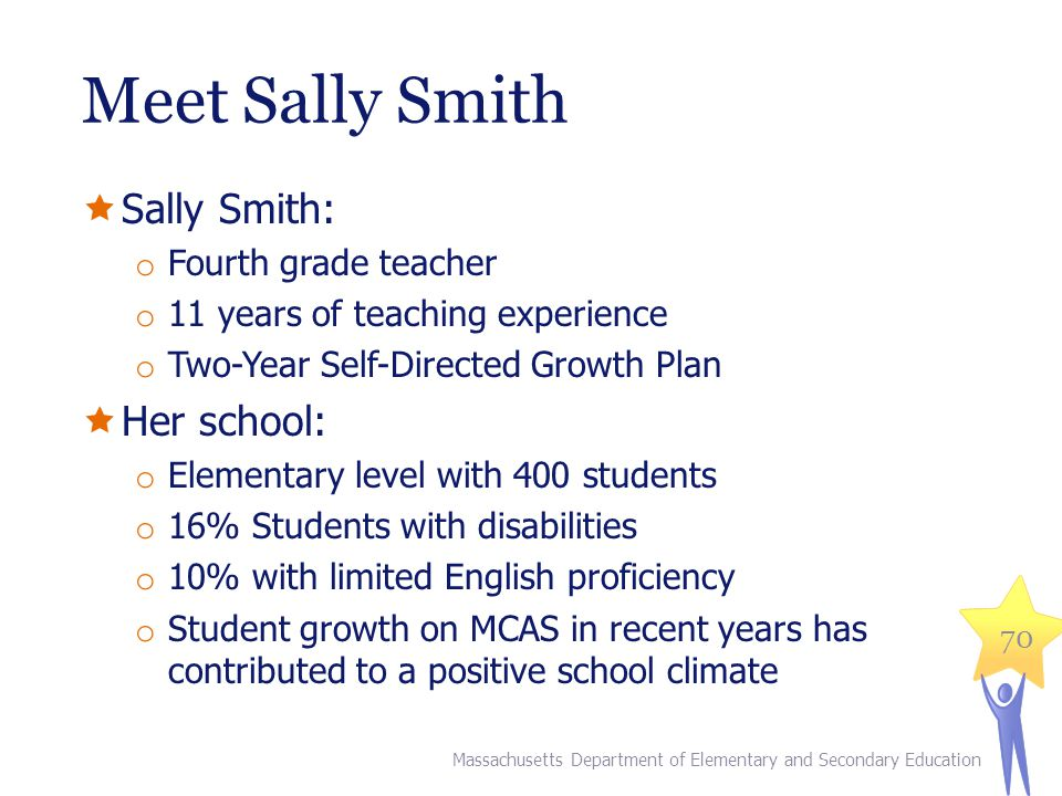 Meet Sally Smith  Sally Smith: o Fourth grade teacher o 11 years of teaching experience o Two-Year Self-Directed Growth Plan  Her school: o Elementary level with 400 students o 16% Students with disabilities o 10% with limited English proficiency o Student growth on MCAS in recent years has contributed to a positive school climate 70 Massachusetts Department of Elementary and Secondary Education