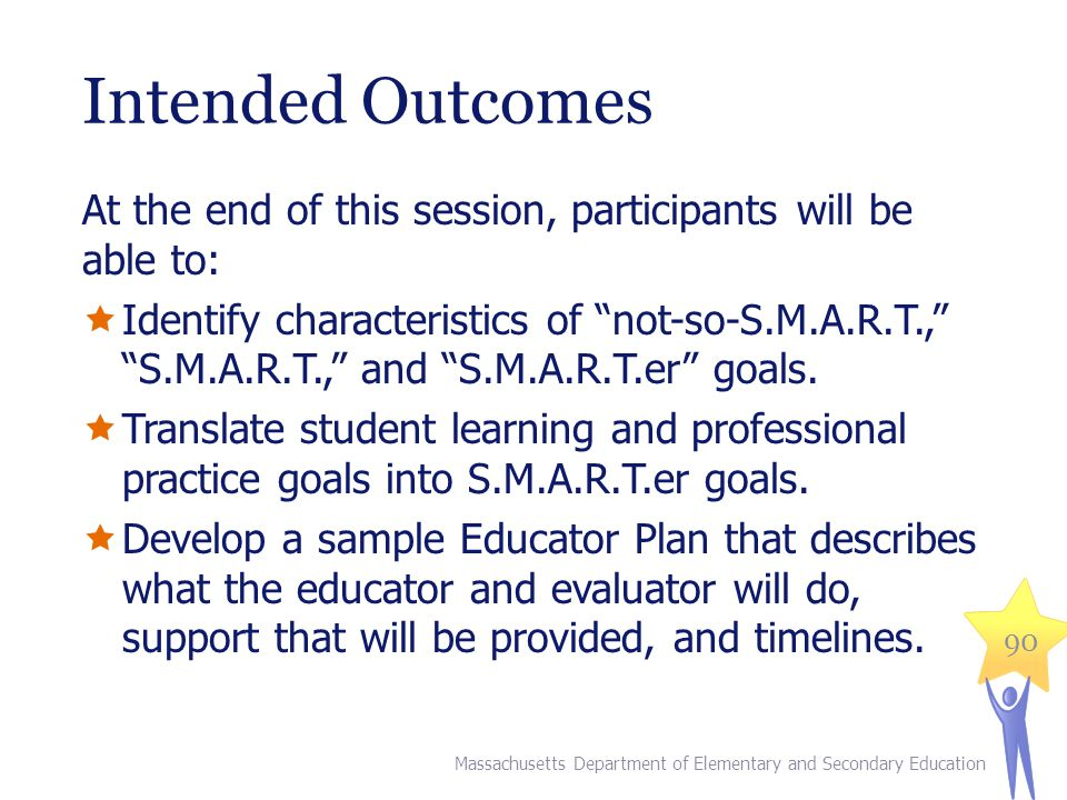 Intended Outcomes At the end of this session, participants will be able to:  Identify characteristics of not-so-S.M.A.R.T., S.M.A.R.T., and S.M.A.R.T.er goals.