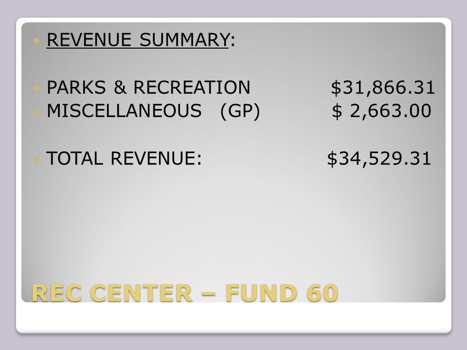REC CENTER – FUND TOTAL EXPENSES: $76,524.52 NEGATIVE BALANCE OF: ($76,524.52) FOR THE MONTH OF JANUARY YEAR TO DATE ($150,063.02)