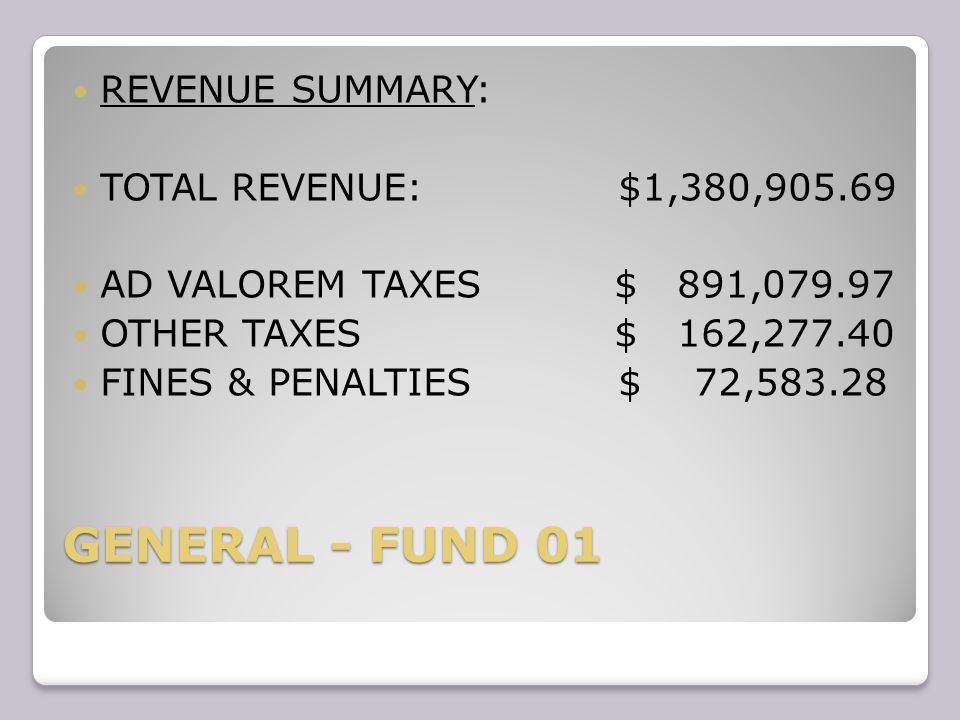REVENUES FUND 01 LICENSES & PERMIT $ 24,086.51 GARBAGE $145,522.26 PARKS & RECREATION $1,530.00 MISCELLANEOUS $ 12,027.63 TRANSFERS $ 71,798.64