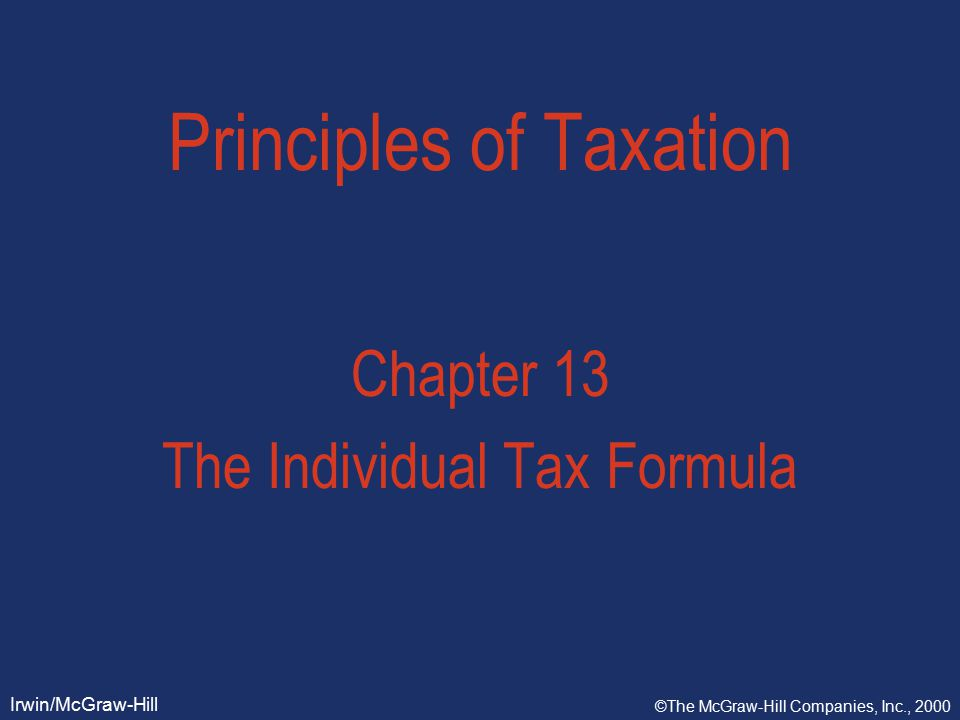 Slide 13-2 Irwin/McGraw-Hill ©The McGraw-Hill Companies, Inc., 2000 Objectives  filing status  computing taxable income  standard deduction versus itemized deductions  exemptions  tax rates  credits and AMT  payment and filing requirements