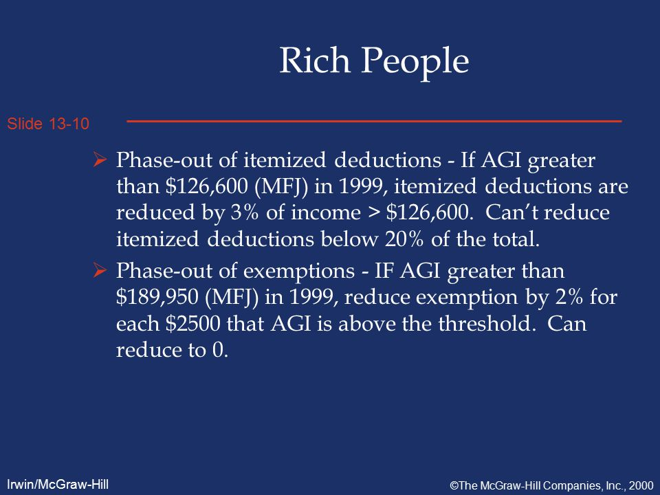 Slide 13-10 Irwin/McGraw-Hill ©The McGraw-Hill Companies, Inc., 2000 Rich People  Phase-out of itemized deductions - If AGI greater than $126,600 (MFJ) in 1999, itemized deductions are reduced by 3% of income > $126,600.