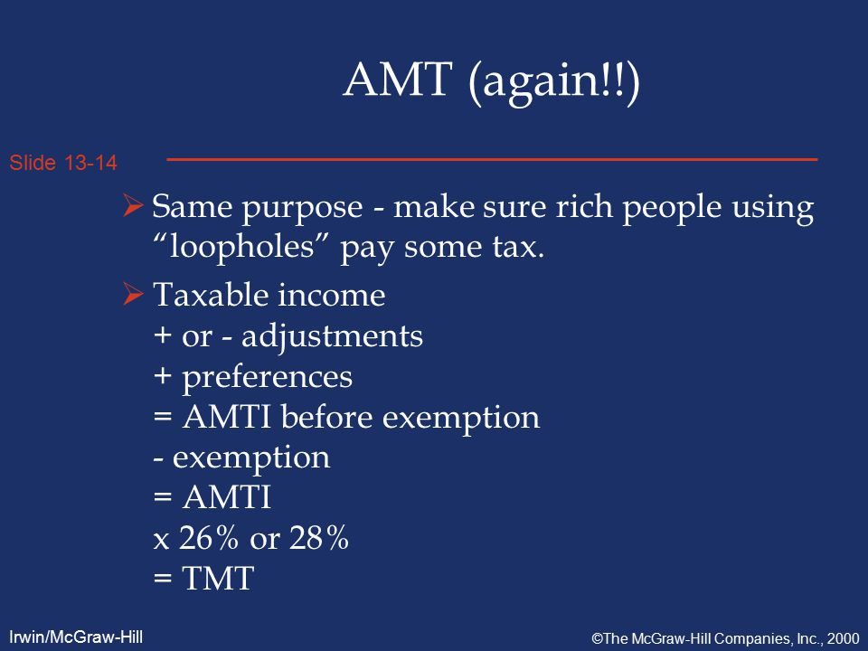 Slide 13-14 Irwin/McGraw-Hill ©The McGraw-Hill Companies, Inc., 2000 AMT (again!!)  Same purpose - make sure rich people using loopholes pay some tax.