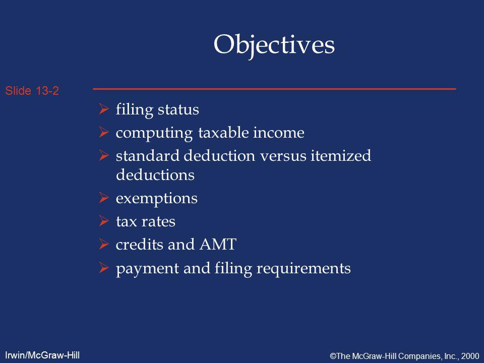 Slide 13-13 Irwin/McGraw-Hill ©The McGraw-Hill Companies, Inc., 2000 Credits  Child Credit = $500 per child in 1999.