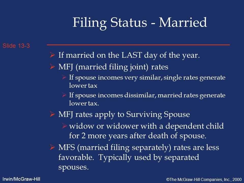 Slide 13-3 Irwin/McGraw-Hill ©The McGraw-Hill Companies, Inc., 2000 Filing Status - Married  If married on the LAST day of the year.