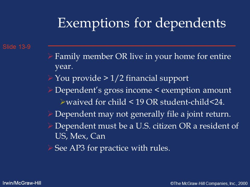 Slide 13-10 Irwin/McGraw-Hill ©The McGraw-Hill Companies, Inc., 2000 Rich People  Phase-out of itemized deductions - If AGI greater than $126,600 (MFJ) in 1999, itemized deductions are reduced by 3% of income > $126,600.