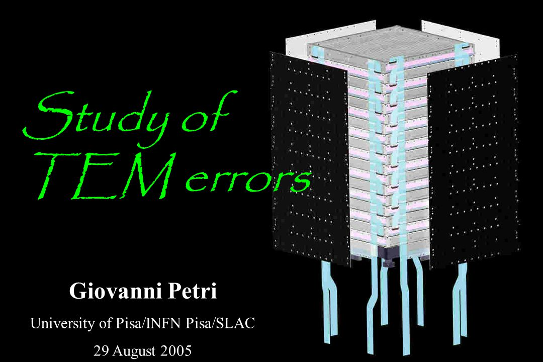 Giovanni Petri University of Pisa/INFN Pisa/SLAC 29 August 2005 Study of TEM errors