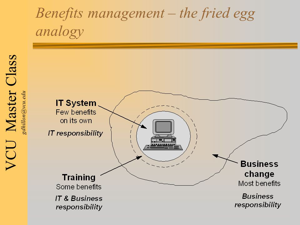 VCU Master Class gdhillon@vcu.edu Benefits management – the fried egg analogy