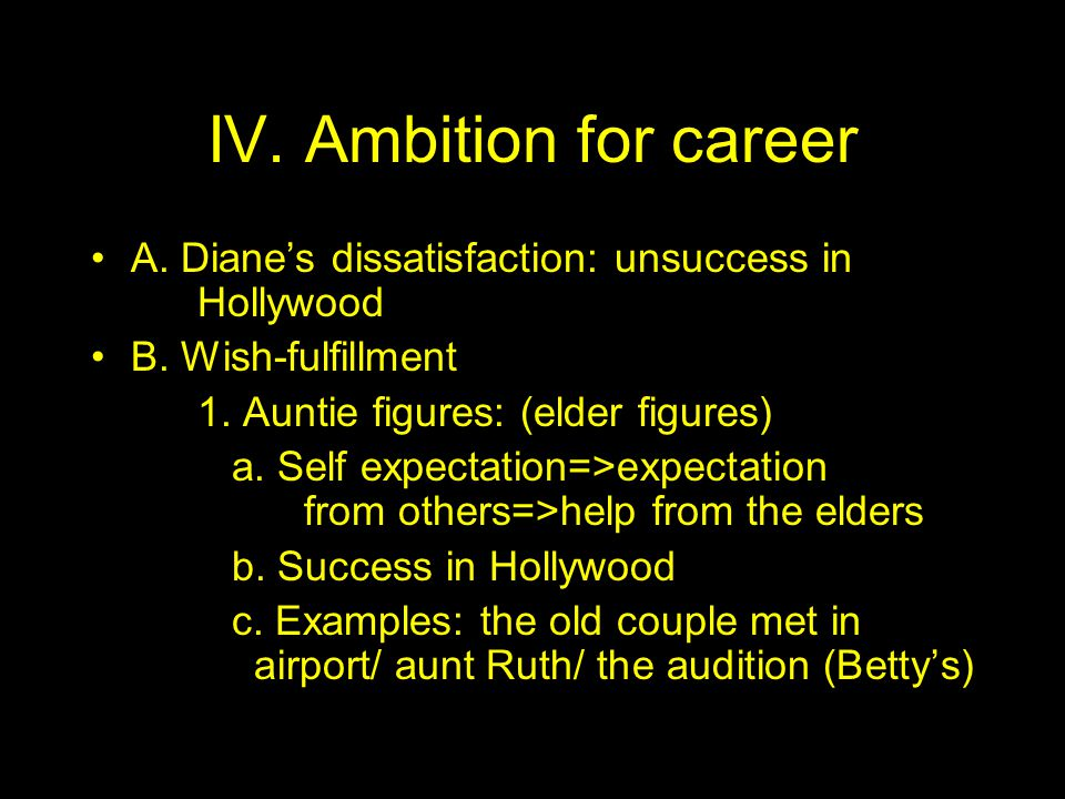 IV. Ambition for career A. Diane's dissatisfaction: unsuccess in Hollywood B.