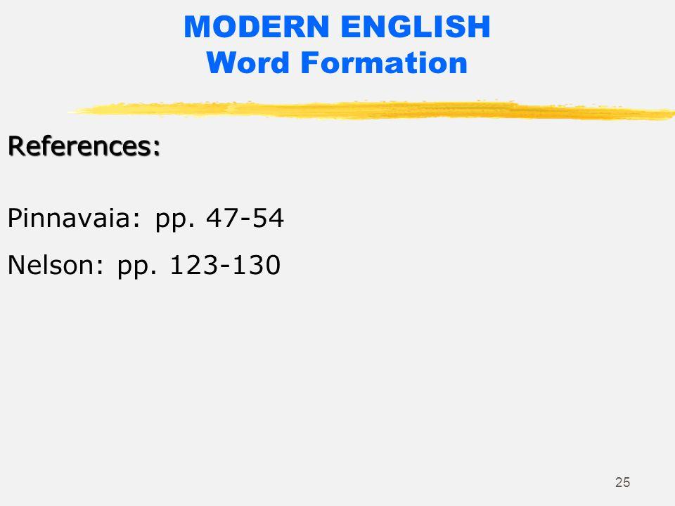 24 MODERN ENGLISH Word Formation English language as both borrower and lender Cfr. The Boston Globe, June 2014