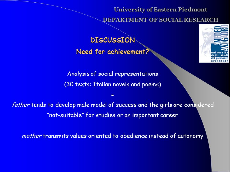 University of Eastern Piedmont DEPARTMENT OF SOCIAL RESEARCH DISCUSSION Need for achievement.