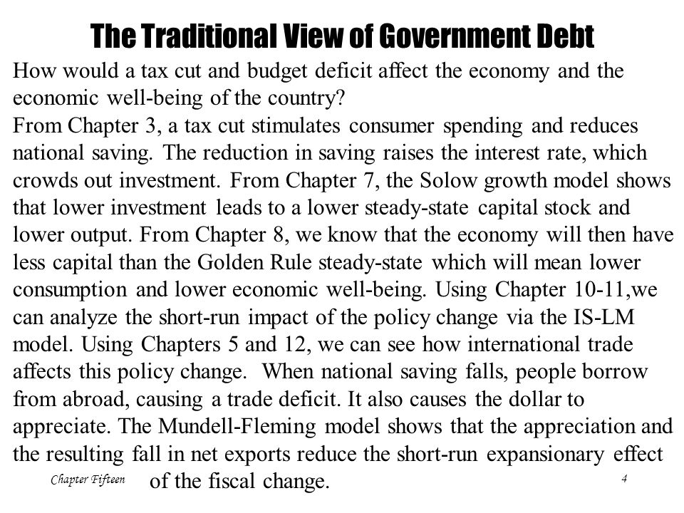 Chapter Fifteen4 How would a tax cut and budget deficit affect the economy and the economic well-being of the country? From Chapter 3, a tax cut stimu