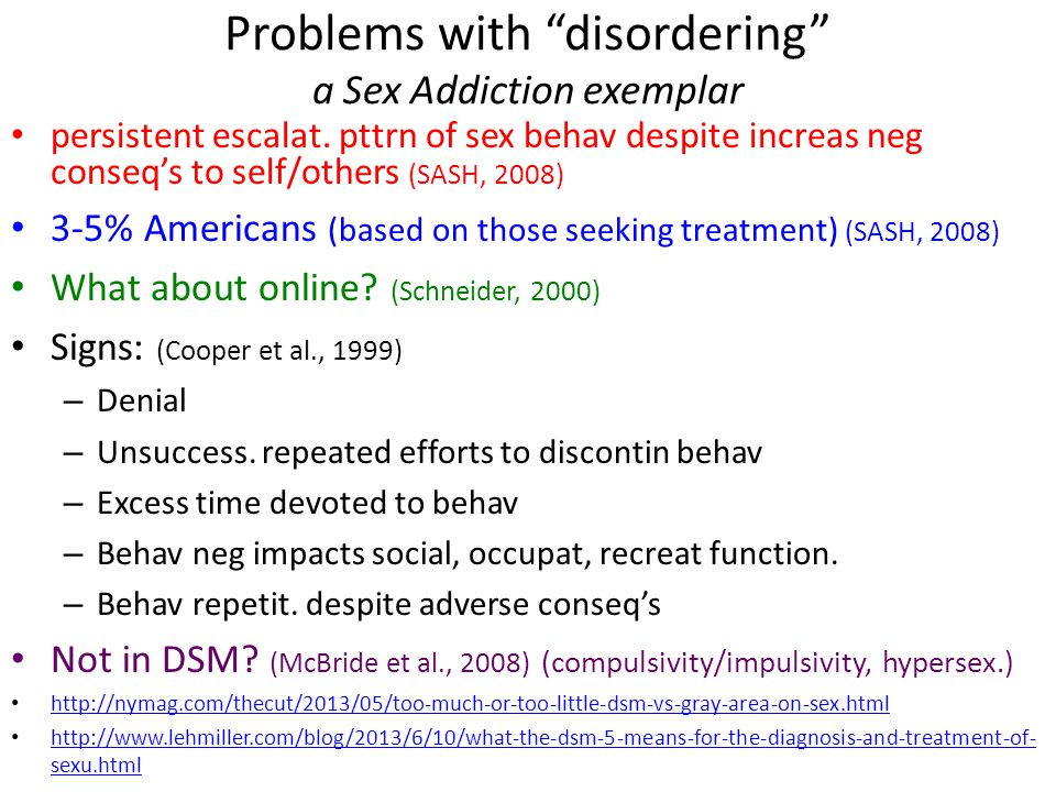 Problems with disordering a Sex Addiction exemplar persistent escalat.