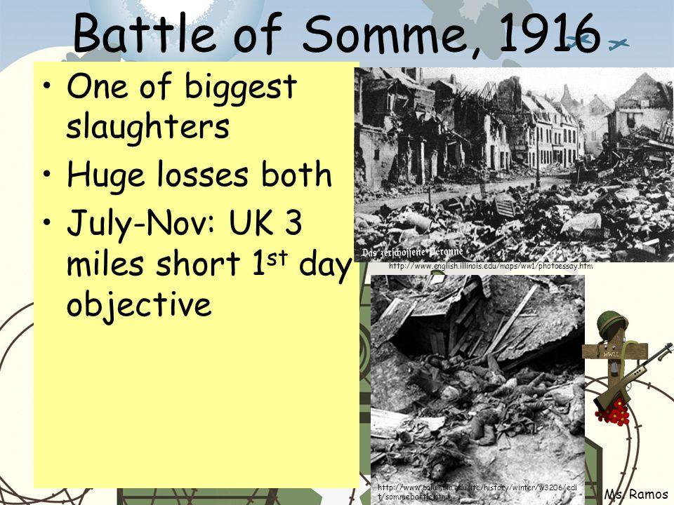 Battle of Somme, 1916 One of biggest slaughters Huge losses both July-Nov: UK 3 miles short 1 st day objective Ms.
