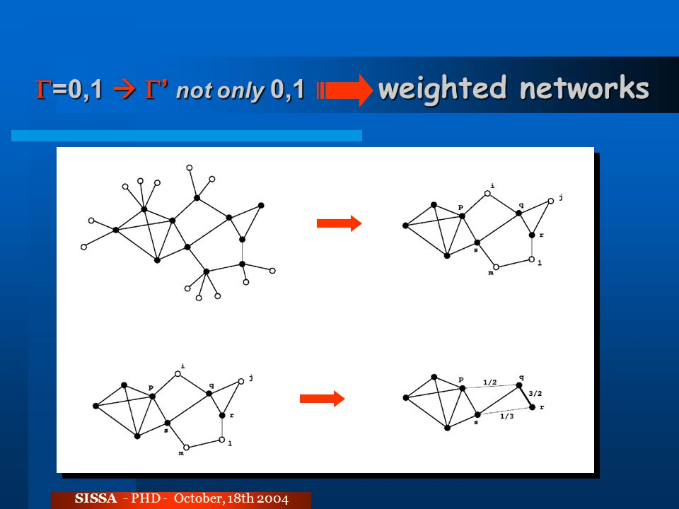  =0,1   ' not only 0,1 weighted networks SISSA - PHD - October, 18th 2004