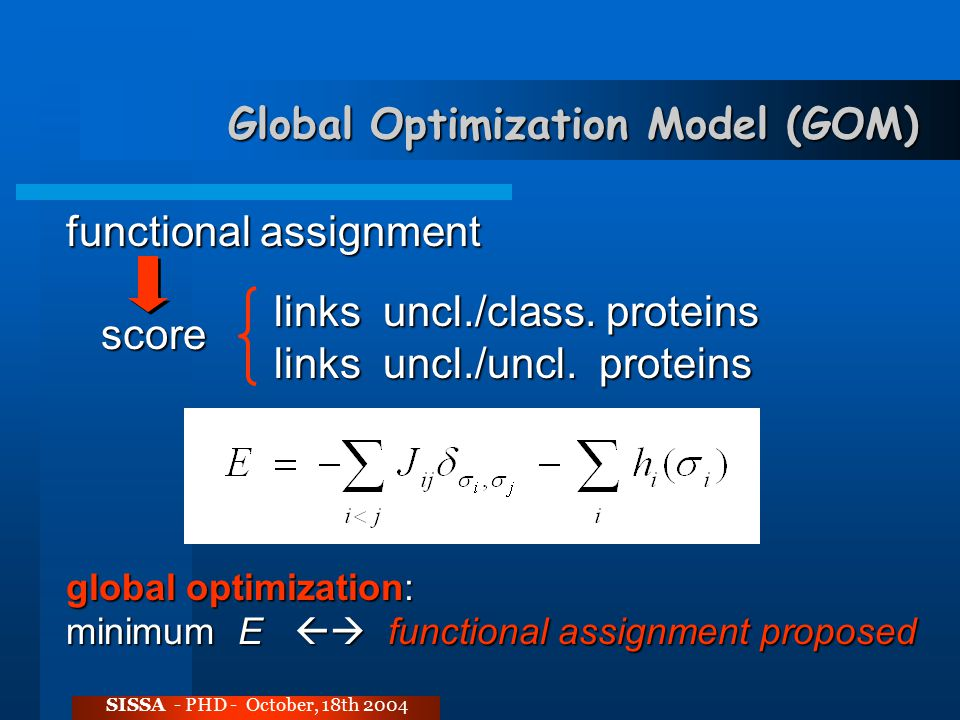 Global Optimization Model (GOM) SISSA - PHD - October, 18th 2004 functional assignment score score global optimization: minimum E  functional assignment proposed links uncl./class.