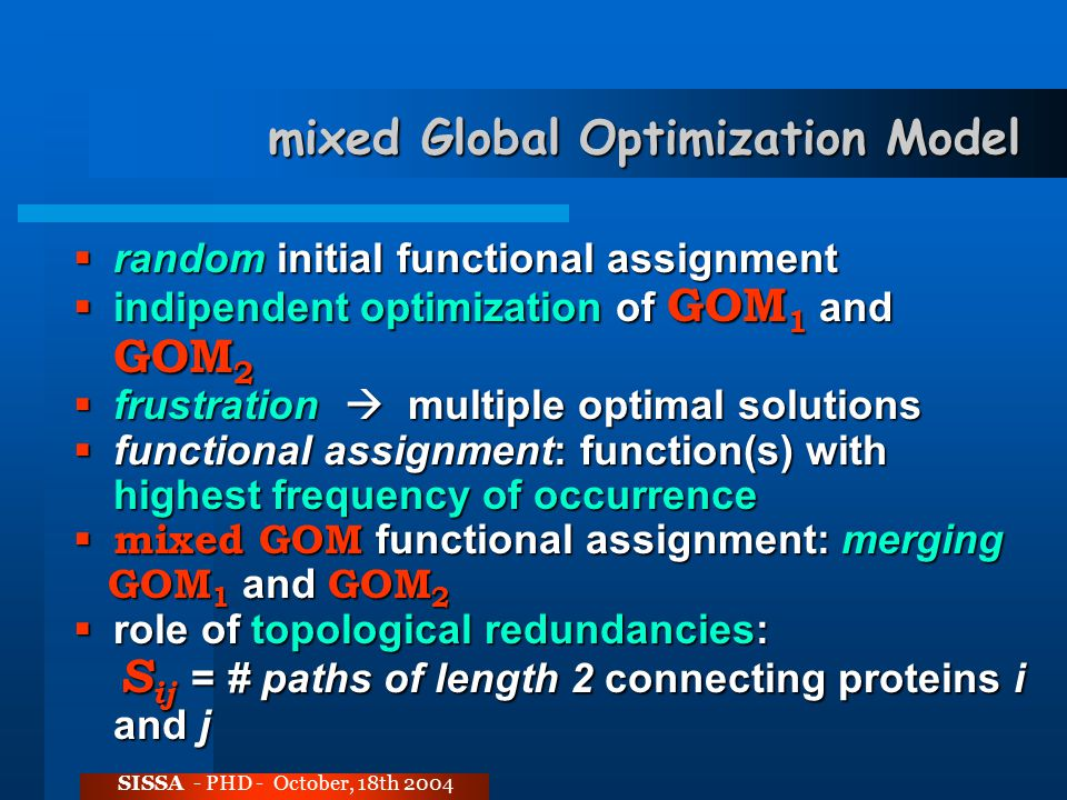 mixed Global Optimization Model SISSA - PHD - October, 18th 2004  random initial functional assignment  indipendent optimization of GOM 1 and GOM 2  frustration  multiple optimal solutions  functional assignment: function(s) with highest frequency of occurrence  mixed GOM functional assignment: merging GOM 1 and GOM 2 GOM 1 and GOM 2  role of topological redundancies: S ij = # paths of length 2 connecting proteins i and j S ij = # paths of length 2 connecting proteins i and j