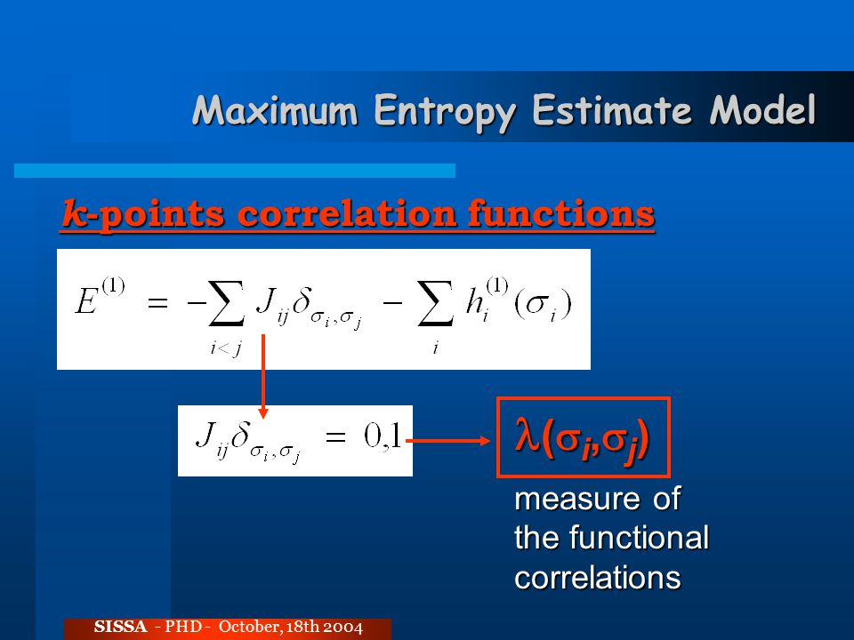 Maximum Entropy Estimate Model SISSA - PHD - October, 18th 2004 k -points correlation functions (  i,  j ) (  i,  j ) measure of the functional correlations