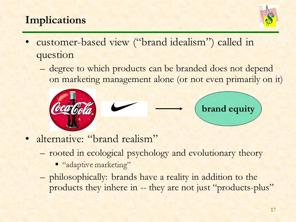 17 Implications customer-based view ( brand idealism ) called in question –degree to which products can be branded does not depend on marketing management alone (or not even primarily on it) alternative: brand realism –rooted in ecological psychology and evolutionary theory  adaptive marketing –philosophically: brands have a reality in addition to the products they inhere in -- they are not just products-plus brand equity