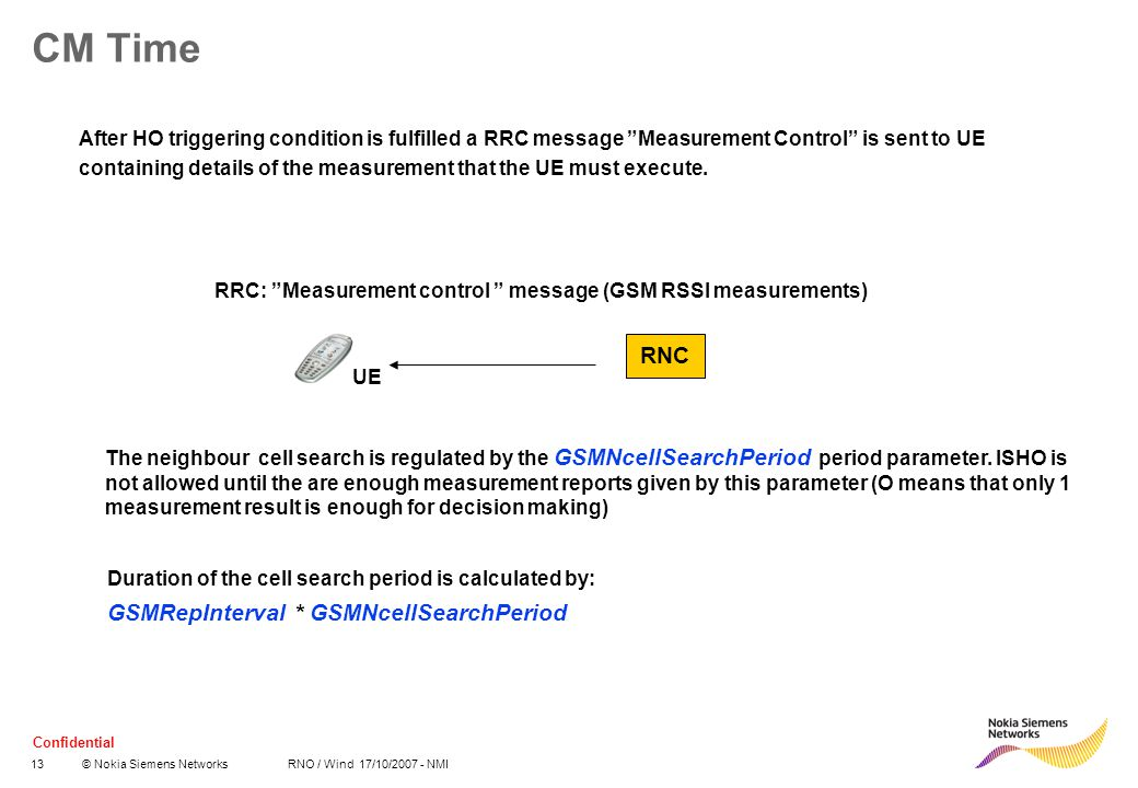 """Confidential 13© Nokia Siemens Networks RNO / Wind 17/10/2007 - NMI CM Time After HO triggering condition is fulfilled a RRC message """"Measurement Cont"""